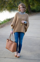 something delightful,blogger,sweater,jewels,bag,tote bag,skinny jeans,ballet flats,fall outfits