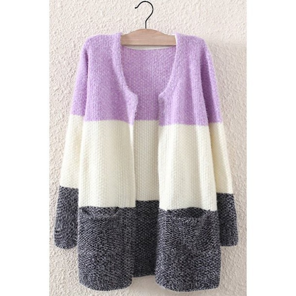 0afbb46e5fc6 cardigan purple grey white lilac long sleeves trendy fashion fall outfits  winter outfits trendsgal.com