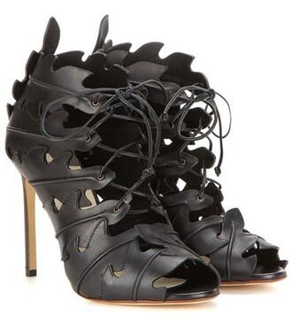 cut-out sandals leather sandals leather black shoes