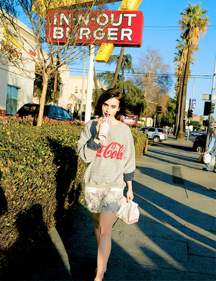 lily collins pullover coca cola coka grey hype classic star hoodie