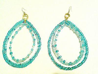 Torquoise Tear Drop Glass Bead Earrings