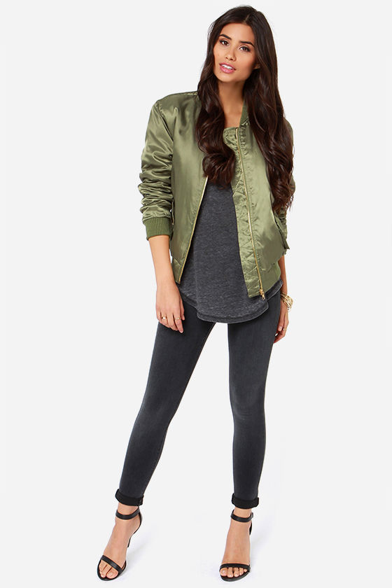 Bomb Diddly Olive Green Bomber Jacket