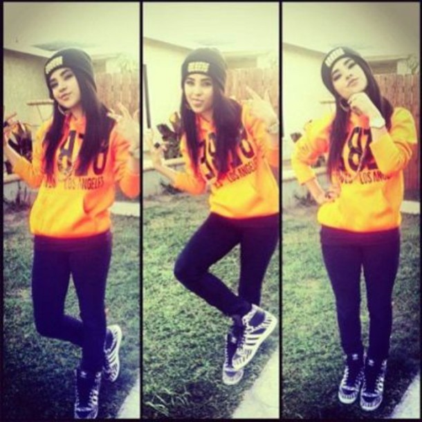 sweater becky g swag pretty girl swag hoodie yellow