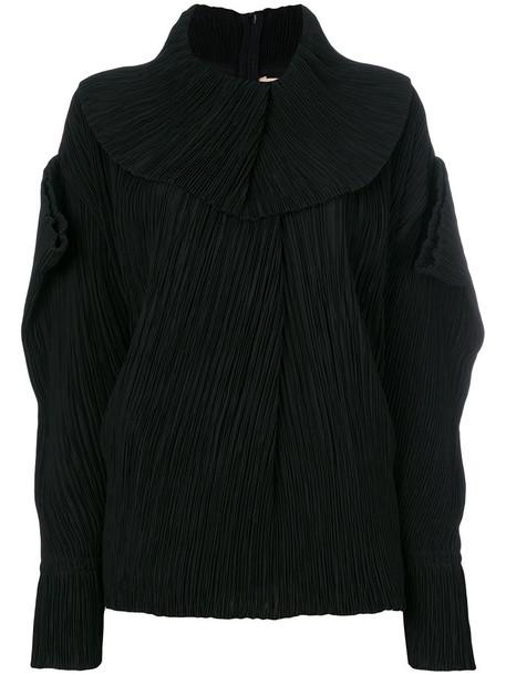 Roksanda top pleated women black silk