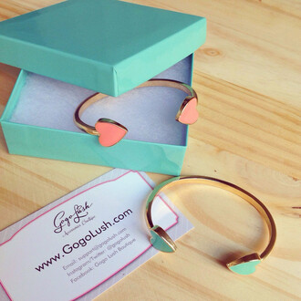 jewels heart teal pink gogolush gold cute bracelets love cuff bracelet stacked jewelry gift ideas