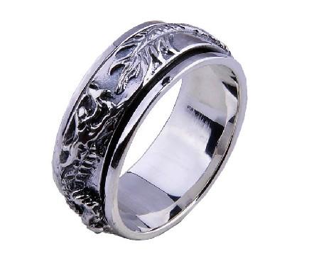 Handmade Sterling Silver Spinning Ring- Dragon - Wishbop.com