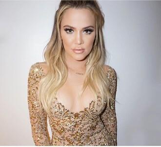 jumpsuit kylie lip kit khloe kardashian gold nude gold dress sequin dress make-up kardashians keeping up with the kardashians