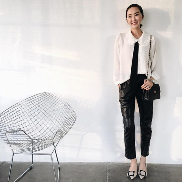 Blouse Bow Blouse Chrisellelim Blogger Streetwear Winter