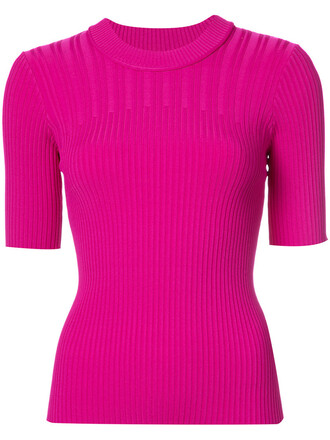 top knitted top short women spandex purple pink