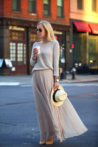brooklyn blonde sweater skirt shoes hat jewels maxi skirt pink skirt spring spring outfits grey sweater spring skirt
