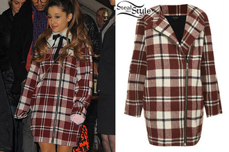 coat ariana grande celeb cute winter outfits warm long red