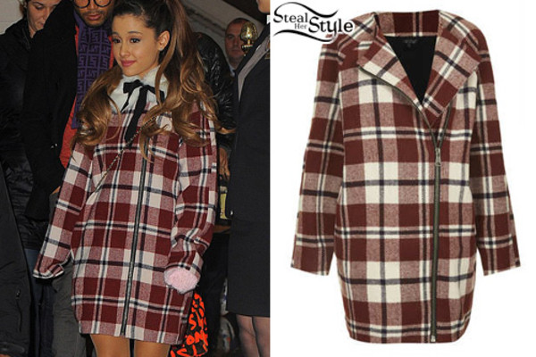 coat ariana grande celeb cute winter outfits warm long coat red ariana grande