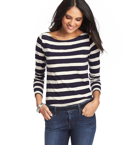 Striped Cotton Long Sleeve Boatneck Tee | Loft