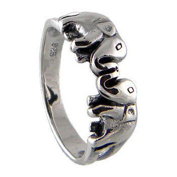 Elephant Ring 925 Sterling Silver Black Oxidized, This Twin Lucky Elephant  Fit the finger from Teen to Adult on Wanelo