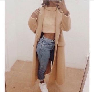 coat crop tops turtle neck crop top beige winter coat jeans sneakers white denim