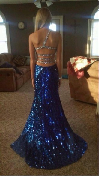 dress gown glitter dress prom dress prom gown sequins blue long dress fancy dress cross back jewls sparkly dress cross back dress