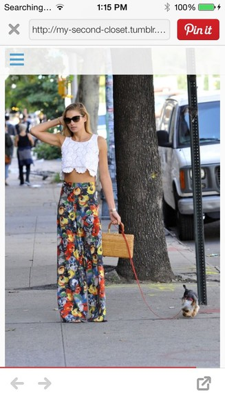 shirt scalloped floral crop tops skirt