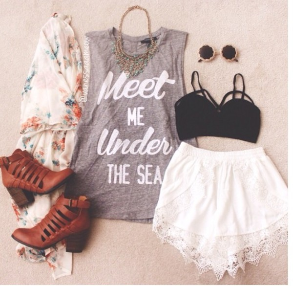 shoes shorts jewels t-shirt top grey sunglasses white lace black floral cardigan boots quote on it round sunglasses kimono bralette shirt mermaid tank top light gray style beach blouse white shorts lace trimmed shorts