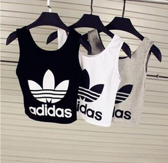 top adidas black white grey crop tops