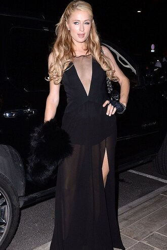 dress gown prom dress paris hilton black slit dress sheer