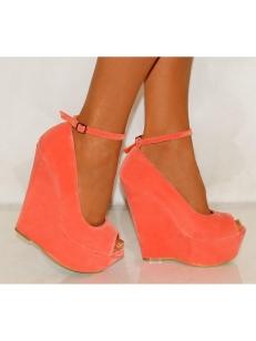 Ladies koi courture coral pink platform high heels peep toes