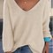Beige v-neck relaxed knit sweater