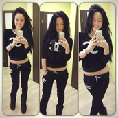 pants,chanel,black,white,sweatshirt,sweater,sweatpants