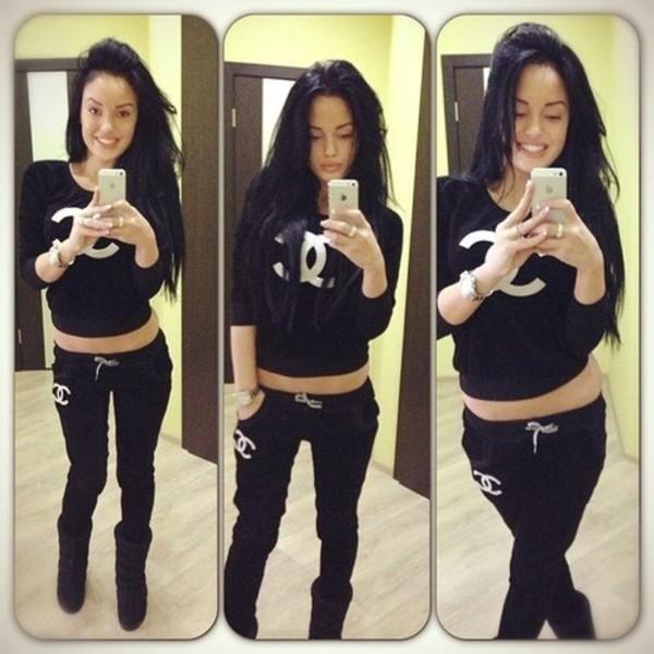 Pants chanel black white sweatshirt sweater sweatpants