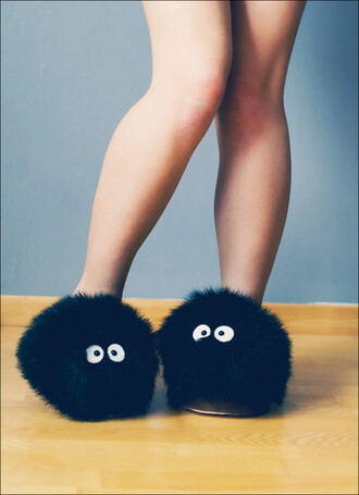 shoes slippers black totoro soot sprite studio ghibli howl's moving castle funny