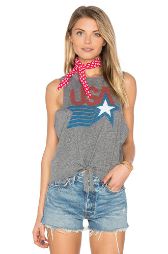muscle tee usa tie front top