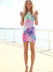 dress,multi colored sleeveless,watercolour,high neck,short dress,pastel,colorful,multicolor,summer dress,mini dress