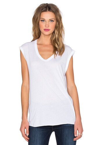 muscle tee white top
