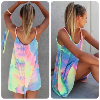 dress tie dye dress multicolor dress rainbow dress yellow purple pink blue reverse reverse official reverse dress rainbow kisses rope style straps rope straps tie dye tie-dye rainbow multicolor multicolor tie dye