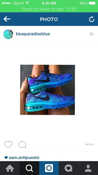 shoes blue shoes cute summer nike running shoes nike flyknit