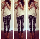 pants,denim,black and white,t-shirt,shirt,top,tank top,cozy,crochet,long,necklace,boho,boho chic,jewels,heels,high heels,boots,casual,wedges,classy,style,hot,leggings,skinny pants,print,polka dots,sea of shoes,beige,sweater,knitwear,knitted sweater,lazy day,long sleeves,winter sweater,winter outfits,holiday season,platform shoes,platform lace up boots,streetwear,streetstyle,shoes