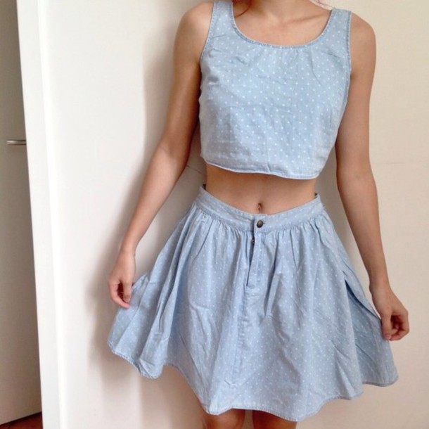 dress polka dots skirt shirt camisole blue dots dress