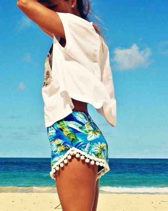 shorts blue hawaiian tassel white bobbles flowers floral hibiscus beach summer leaves palm tree