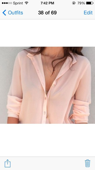 blouse spring button down button up pink peach blush summer flowy top