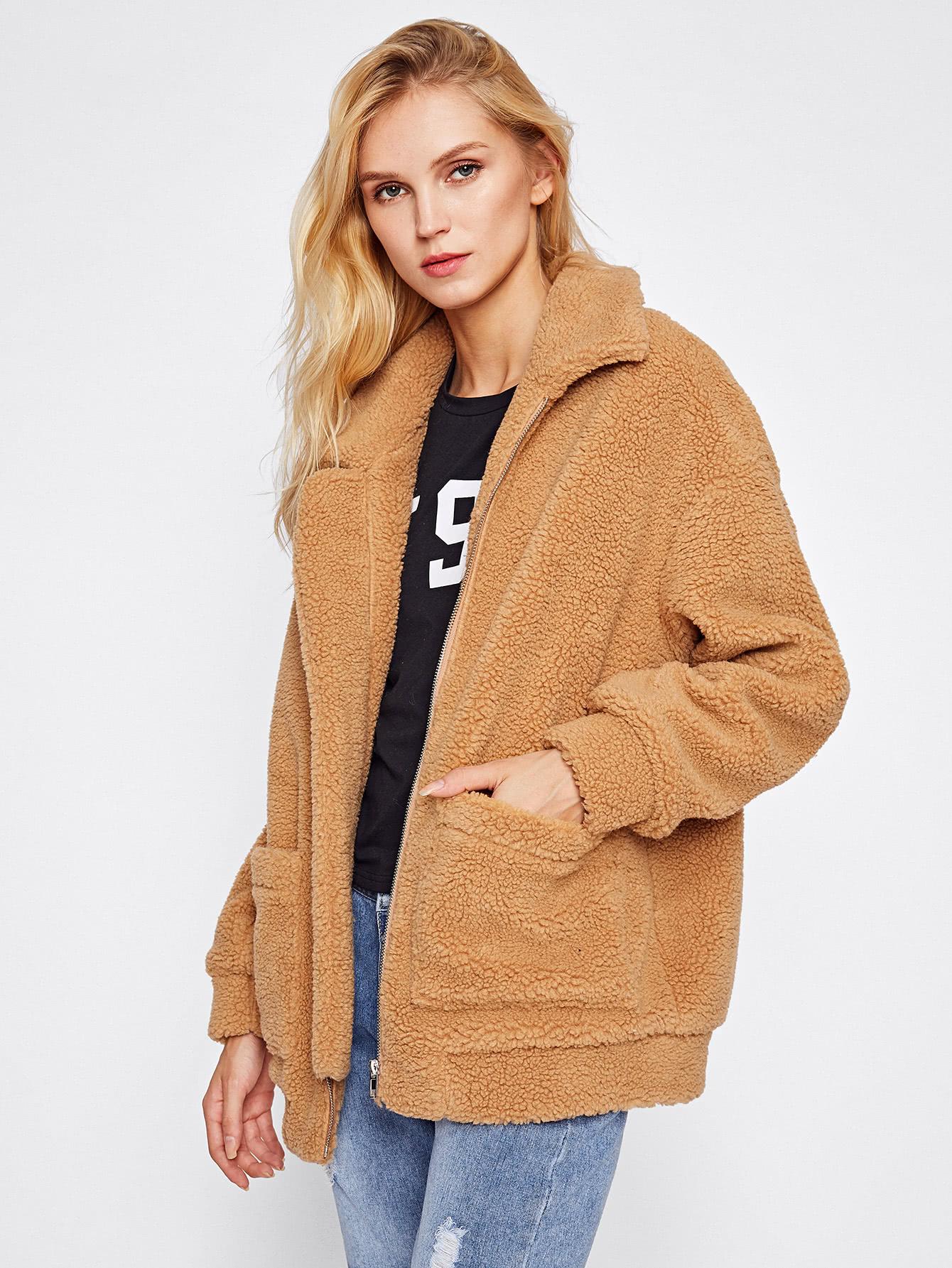 a1cd2c00dc4845 Drop Shoulder Oversized Fleece Jacket -SheIn(Sheinside)