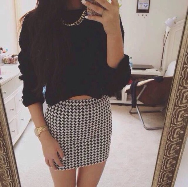 Skirt: short, denim, black and white, print, jewels, necklace ...