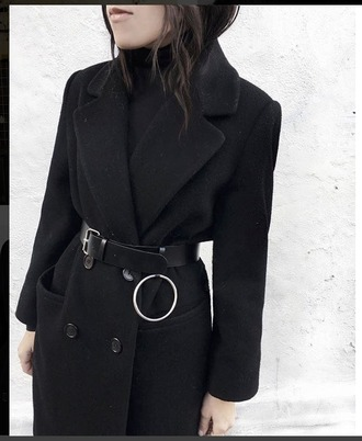 coat trench coat black techno goth hipster minimalist edgy double breasted goth stylish wool