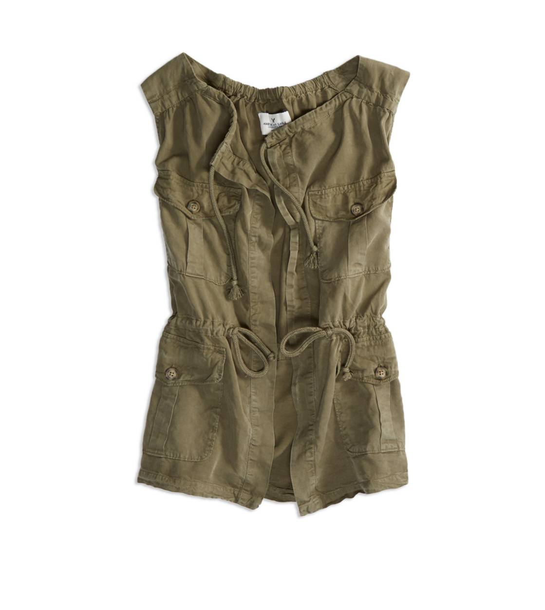 AE Drawstring Cargo Vest, Olive   American Eagle Outfitters