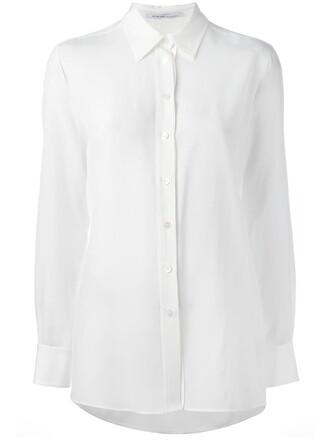 shirt women white silk top