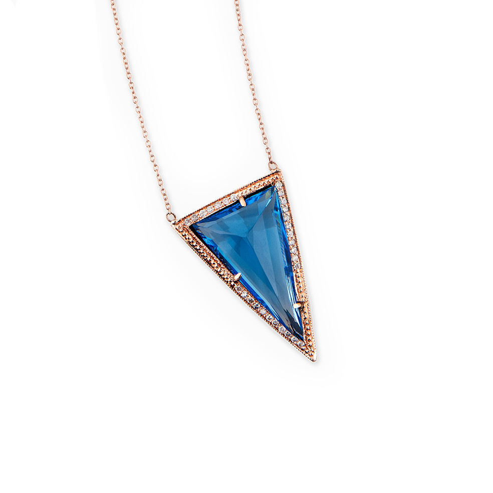 Medium blue triangle crystal necklace