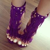 shoes,heels,high heels,studs,purple,fringes,sandal heels fringed purple,purple shoes,gold studs,purple fringed shoes,purple heels,purple fringe heels with gold studs,fringe shoes,high heel sandals