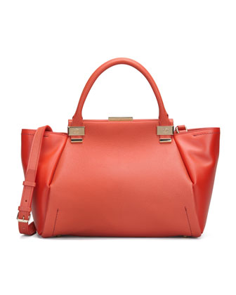 Lanvin Trilogy Leather Tote Bag, Red