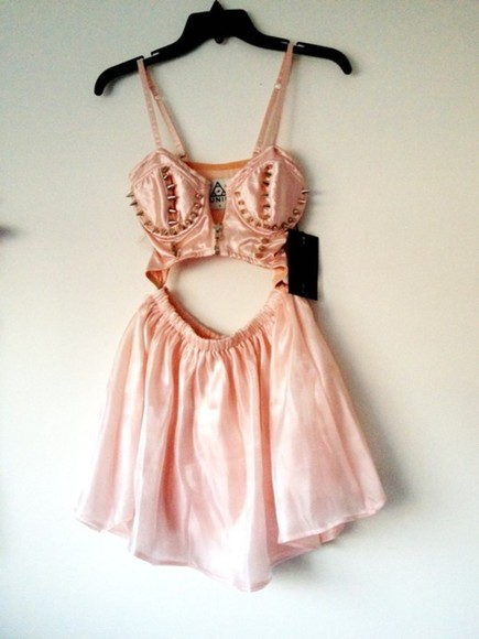 unif dress pink gold grunge pastel baby pink short spikes shiny soft cool cut-out