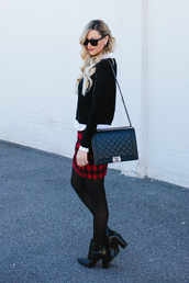 a little dash of darling,blogger,flannel,quilted bag,black heels,rebecca minkoff,black sweater,chanel,chanel bag,black boots,opaque tights,mini skirt and ankle boots
