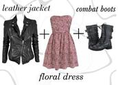 dress,floral dress,leather jacket,strapless dress,combat boots,red pink and purple,jacket