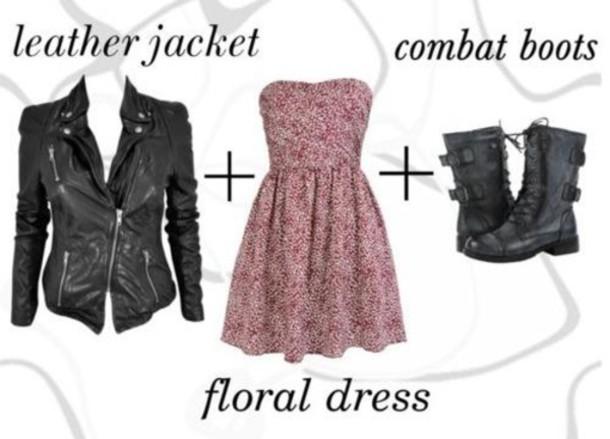 dress, floral dress, leather jacket, strapless